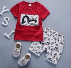 2018 Short suit children Summer Boys sport summer baby girls T-shirt cotton two piece clothes Red 90cm cotton