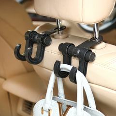 Double Auto Car Back Seat Headrest Hanger Holder Hooks Clips For Bag Purse Cloth Grocery  Interior black 1pcs