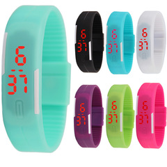 new Fashion Silica gel led Wristband Watch Fashion Trend Child Student Touch Digital Watch Red Light random color 1pcs