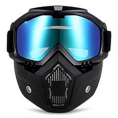 Motorcycle Goggles Detachable Mask and Mouth Filter Harley Style Protect Padding Helmet Sunglasses