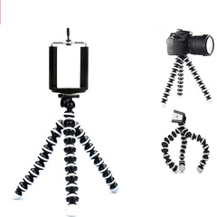 2018 Small Octopus Flexible Digital Camera Stand Monopod Mini Tripod with Holder Cell Phone Holder Black and White 16.5*3.5*3.5