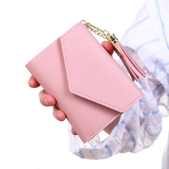 New Women Hasp Wallet Fashion Tri-Folds Clutch For Girls Coin Purse Card Holders lovely pink 11*10*2cm