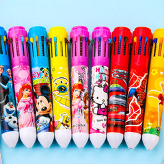 1pcs creative stationery children cartoon 10 color ballpoint pen colored ball pen