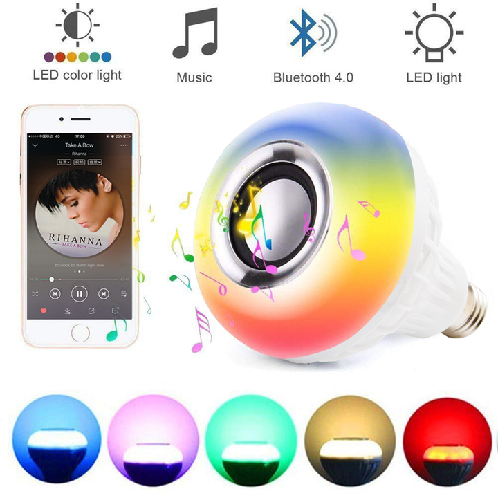 Wireless Bluetooth Speake RGB Bulb LED Lamp Smart Led Light Music Player Audio with Remote Control white 6W one size