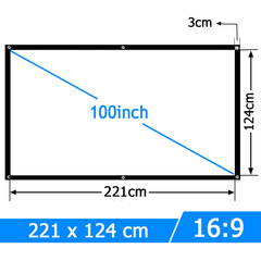 100 inch 16:9 portable projector screen white cloth outdoor type support T90s AM01s white 16:9
