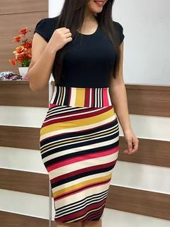 2018 New European Women Floral Print Bodycon Dresses Short Sleeve Slim Dresses Sexy Bodycon Dresses s Rainbow strip