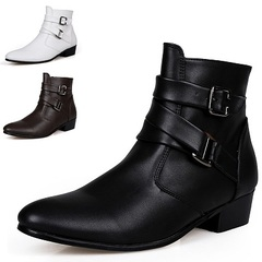 Quality Italian Mens Ankle Boots Pointed Toe High Top Casual Shoes Male Business Dress Shoes Elegant White 39