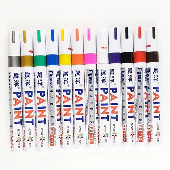 Yueyang brand black paint pen Durable low odor tire pen album DIY graffiti White mark touch up paint blue one size