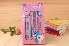 SW 8pair/set blue fruit rabbit student stationery writing set red