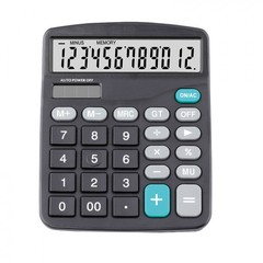 12 Digit Calculator Calculate Commercial Tool Battery 2in1 Powered Electronic Calculator and Button