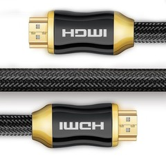 Cable (4K UHD HDMI 2.0 Ready)-Braided Cord-Ultra High Speed 18Gbps-Gold Plated Connectors - Ether