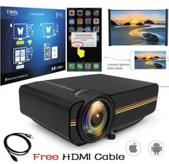 Mini Projector Wired Sync Display stable than WIFI Beamer For Home Theatre Movie AC3 HDMI VGA USB white Free HDMI Cable