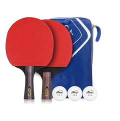 Crossway 2pcs Professional Table Tennis Rackts 2 Sides High Quality Ping-pong Bats Black+Red one size