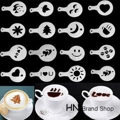 HN-16Pcs coffee milk cake cake mold barista cappuccino template as picture white set
