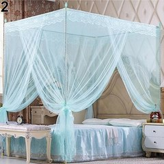 Flash sale Quadrate Mosquito Net Palace Net Lace Bed Netting with Three-Door Bed Net blue 1.5*2m