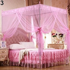 Flash sale Quadrate Mosquito Net Palace Net Lace Bed Netting with Three-Door Bed Net pink 1.8*2m
