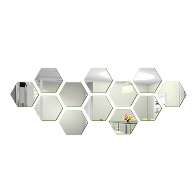 12pcs Silver 3D Removable DIY Mirror Hexagon Wall Sticker Decal Art Decor Hexagonal Mirror sticker Silver 46*40*23mm
