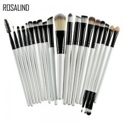 ROSALIND 20Pcs Professional Makeup Brushes Set Powder Foundation Eyeshadow Make Up Brushes Cosmetics Black and White