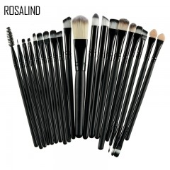 ROSALIND 20Pcs Professional Makeup Brushes Set Powder Foundation Eyeshadow Make Up Brushes Cosmetics Black and Black