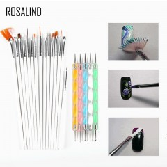 ROSALIND 15 PCS Nail Art Brush+5PCS Nail Dotting Pens Decorations Set Tools Professional Painting white