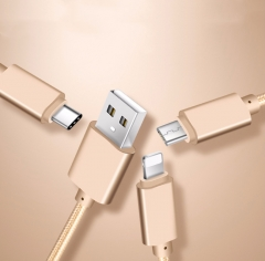 Taidebao iPhone Android Type-c 1.2m USB Cable Charger data Cable Adapter for IPhone Gold 1.2m