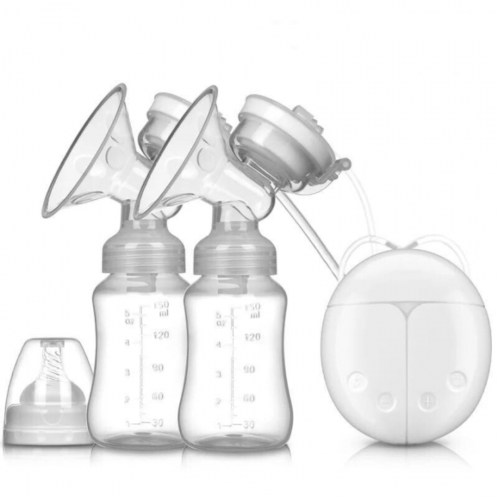 Double Electric Powerful Nipple Suction USB Electric Breast Pump with baby milk bottle Cold Heat Pad white 150ml