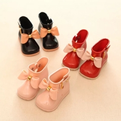 Children Boots Girls Rainboots bowknot Jelly Shoes Boys Rain Boots Short Water Shoes Children Boots black 29