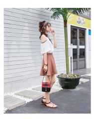 Toofn Handbag Classic Women Luxury Handbag PU Leather Genuine Bags white f