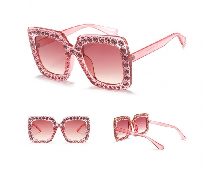 410134a87c10 Luxury Ladies Oversized Square Sunglasses Women Bling Frame Cat Eye Glasses  2018 No.3 one
