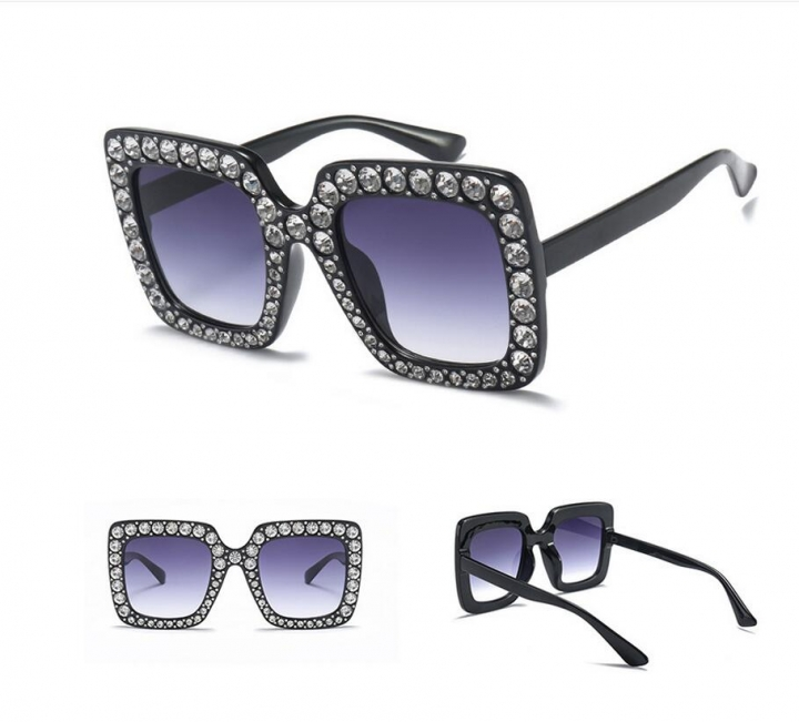 22796aece198 Luxury Ladies Oversized Square Sunglasses Women Bling Frame Cat Eye Glasses  2018 No.1 one
