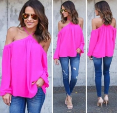 Summer Womens Chiffon Off Shoulder Shirt Long Sleeve Blouse Casual Vest Tops pink m