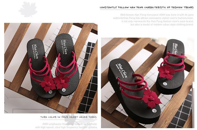 71e2484545b6 2018 Women Flip Flops High Heel Slippers Platform Wedge Sandals Beach  Street red 35  Product No  1753755. Item specifics  Brand