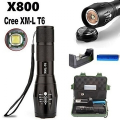 Portable 10000Lumens XM-L T6 Zoomable Tactical military LED 18650 Flashlight  5 Modes Black conventional