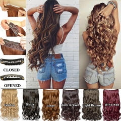 Hair Fashion Long Curly Clip In Hair Extensions Cosplay Hairpiece Synthetic Wigs Long Hair 16/20inch black 16 inch