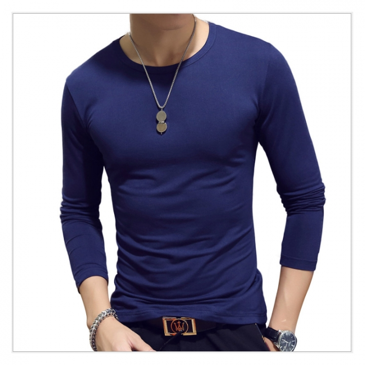 165828aef Men's solid color long sleeve t shirt multi-color slim round collar V neck  pullover