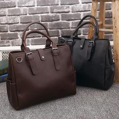 Crazy-Horse PU Leather Laptop Bag  Vintage Cross Body Shoulder Bag and Handbag Black 39 x 12.5 x 34 cm