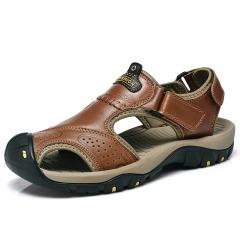 Genuine Split Leather Men Beach Sandals Brand Men Casual Shoes Flip Flops Men Slippers Sneakers red brown 43