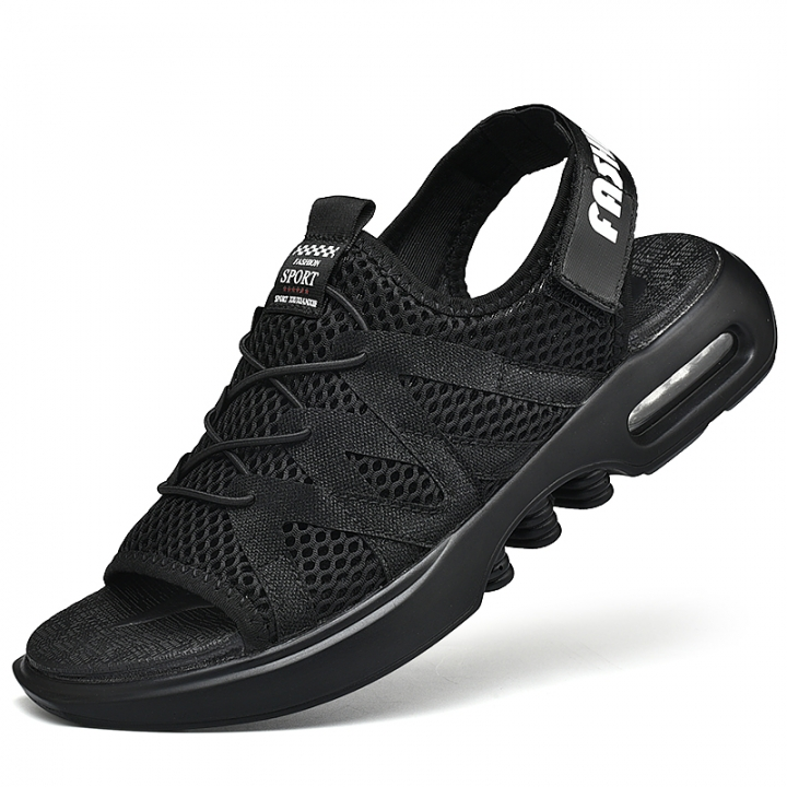 Summer Mens Breathable Beach Casual Shoes New Hot Lace Up Black Air Cushion Sandals Male black 39