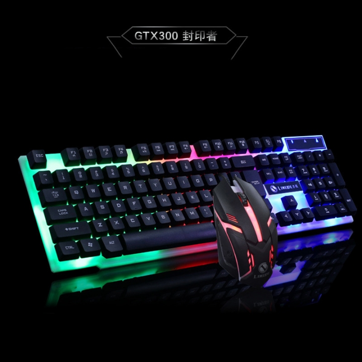 22b3ffcad76 Keyboard and Mouse Keyboard and Mouse Game Glow USB Keyboard USB Game Mouse  Set Black black