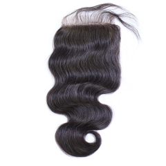 Brazilian Body Wave Human Hair 4x4 Top Lace Closures Bleached Knots Natural Black Color Free Part 12inch