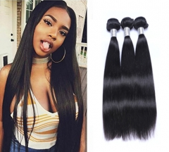 3 Bundles 8A Brazilian Straight  Human Hair Double Wefts 100g/bundle Natural Black Color natural black 1b# 14inch