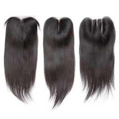 Brazilian Straight Human Hair 4x4 Top Lace Closures Bleached Knots Natural Black Color free part 12inch