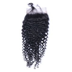 Brazilian Kinky Curl  Human Hair 4x4 Top Lace Closures Bleached Knots Natural Black Color free part 12inch