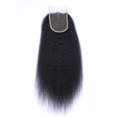 Brazilian Kinkystraight  Human Hair 4x4 Top Lace Closures Bleached Knots Natural Black Color free part 12inch