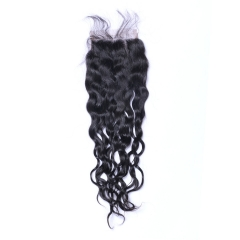 Brazilian Natural Wave Human Hair 4x4 Top Lace Closures Bleached Knots Natural Black Color free part 12inch