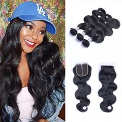 Brazilian BodyWave Virgin Hair 3 Bundles With Top Lace Closure Virgin Hair Natural Color No Shedding 3 bundles with free part 8-8-8 +8