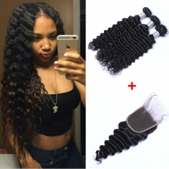 Brazilian DeepWave Virgin Hair 3 Bundles With Top Lace Closure Virgin Hair Natural Color No Shedding 3 bundles with free part 10-10-10+8