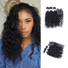 Brazilian NaturalWave Virgin Hair 3 Bundles With Top Lace Closure Virgin Hair Natural Color No Shed 3 bundles with free part 12-12-12+10