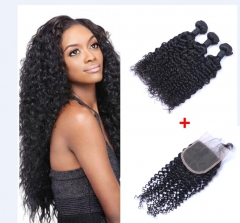 Brazilian Jerry curl Virgin Hair 3 Bundles With Top Lace Closure Virgin Hair Natural Color No Shed 3 bundles with free part 12-12-12+10