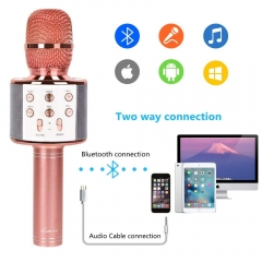 Bluetooth Wireless Karaoke Microphones Speaker Portable for All Smart Phone Home Birthday Party Gift bright gold perfect one